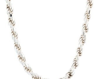 Estate Men's 925 Silver Rope Chain 22 Inch Lobster Claw Clasp Jewelry