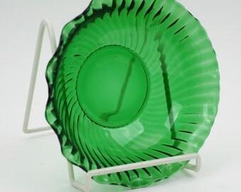 Vintage Emerald Green Glass Bowl, Anchor Hocking Swirled Fluted Sides, Ruffled Rim,