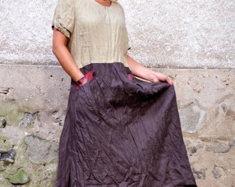 Beige brown casual dress/100% linen dress/Woman maxi dress/Plus size dress/Casual linen dress with pockets/Handmade dress/Long dress/D1506