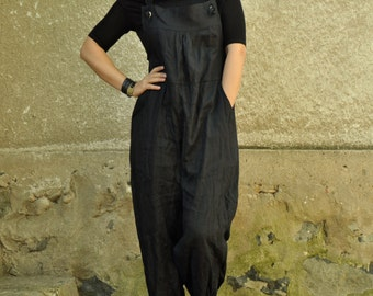 Black linen jumpsuit/Loose summer jumpsuit/Linen Drop Crotch Jumpsuit/Linen Romper/Linen Overall/Bohemian jumpsuit/Wide legs/Oversized/G1235