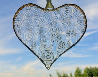 Hand made large heart suncatcher made with lovely recycled textured clear glass. Vintage Glass. Gift or Decoration. Garden Decoration
