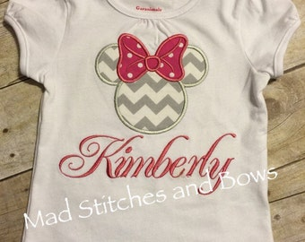 Minnie Mouse Custom embroidered birthday shirt with name