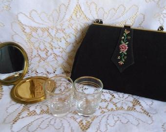 Vintage Petit Point Evening Bag Pink Roses Embroidered Purse Clutch Bag Tapestry Handbag Cocktail Purse Vintage Glamour British Vintage