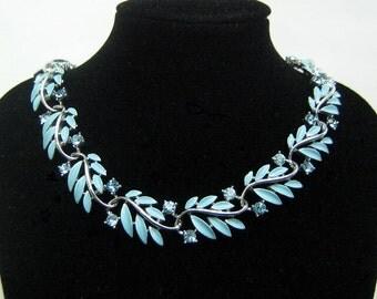 Lisner blue enamel and rhinestone necklace