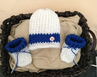 Baseball Knit baby hat, Dodgers baby hat,Baby Boy Beanie hat,white and blue baby hat, Los Angeles Dodgers baby hat, baby shower gift