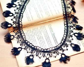 Black Lace Trim Tassels Vintage Style Lace Tassels for Sewing Crafts Width 5.2cm r88 (1 yard)