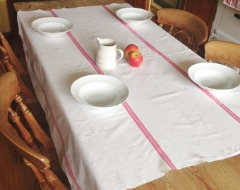 Vintage French Farmhouse Linen Tablecloth Red and White