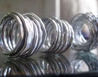 aluminum rings, lightweight, flexible, irregular, tangled, handmade, made to order, customized