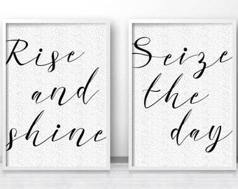Digital Download Print, Bedroom Prints Set of 2, Instant Download Printable Art, Bedroom Decor, Quote Prints, Rise And Shine, Typography Art