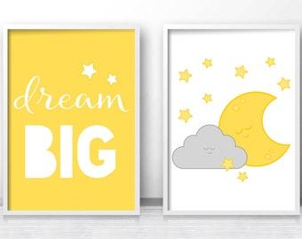 Nursery prints, Yellow Grey Nursery Wall Art,  Set Of 2 Nursery Prints,  Dream Big Print, Moon And Cloud Nursery Art,  Yellow Nursery Decor