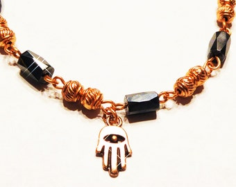 Brash and Bright Copper Bracelet with Hematite and Hamsa