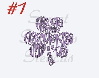 Kiss Me I'm Irish Clovers Cookie Stencil (2 variations)