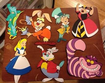 Alice in Wonderland Character Die cuts set of 7