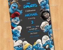 The Smurfs Birthday Party Invitation - PERSONALIZED Smurfs Invitation