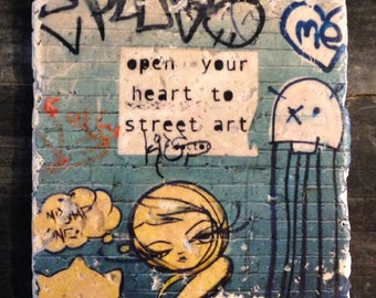 Open Your Heart To Street Art Graffiti Coaster or Decor Accent