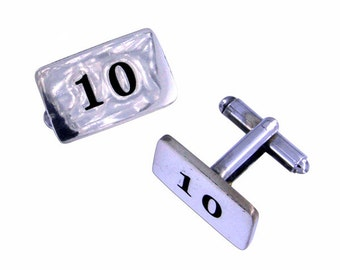10th Anniversary rectangle T-Bar cufflinks- Hand Made and Design in UK