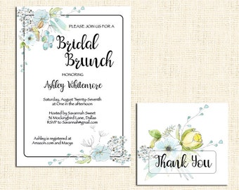 Bridal Shower Invitation and matching Thank You note card
