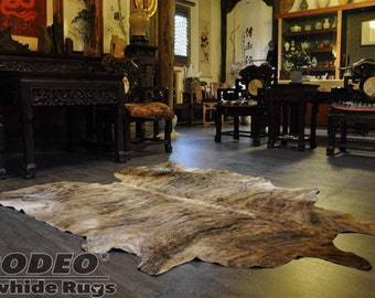 Exotic Brindle Rodeo Cowhide Rug