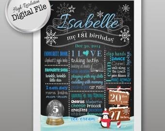 Baby's First Birthday/Christmas, Birthday/Christmas Poster, Photo Shoot Prop, Baby's First /Birthday/Christmas Gift, Digital Print