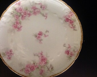 GDA Limoges Pink Floral Salad Dessert Plates Chas Hall Set of 6
