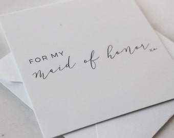 Mini Notecard - For My Maid of Honor
