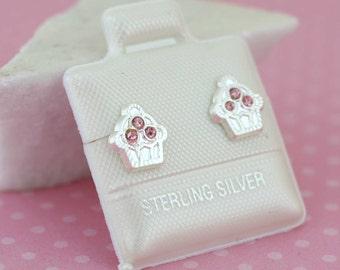 Cupcake Sterling Silver Stud Earrings, Sterling Silver Stud Earring, Cupcake Stud Earrings, 925 Sterling Silver CupCake Screw Back Stud