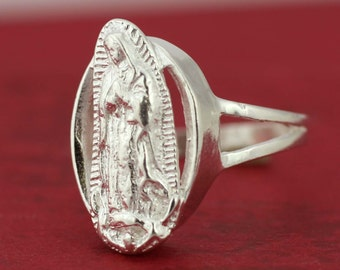 Our Lady Guadalupe Sterling Silver Woman Ring, Sterling Silver 925 Guadalupe Ring, Virgin of Guadalupe Ring, Catholic jewelry, Guadalupana