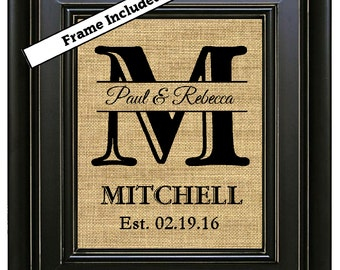 FRAMED Burlap Monogram Monogrammed Gifts Personalized Wedding Gift for Couple Gift for Bride Wedding Gift Last Name Established Gift Art
