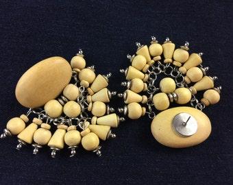 Large wooden dangle chandelier earrings - Statement jewelry
