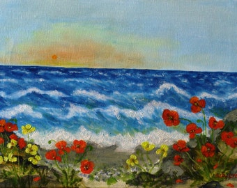 """Red and yellow poppies on the beach-40cmX30cm (16""""x12"""" approx.)-Sea-Flowers-Original painting-Original Landscape-Handmade by Silvia Dimova"""