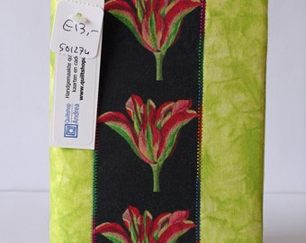 Fabric covered notebook with tulips (unlined)