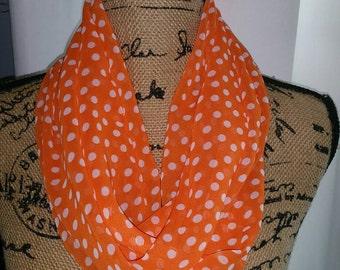 Orange and white polka dot infinity scarf!