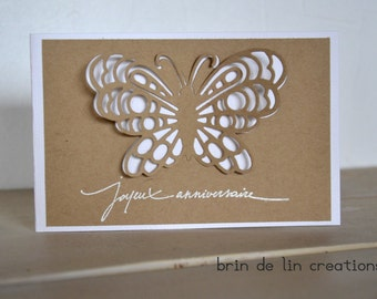 Hand made card kraft french  happy birthday with cut butterfly