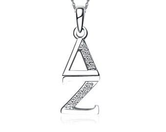 Delta Zeta Necklace - Vertical Design Sterling Silver (DZ-P001)