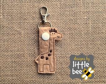 giraffe snap tab gift baby shower DIGITAL DESIGN key fob keychain applique embroidery digital file design monogram monogrammed
