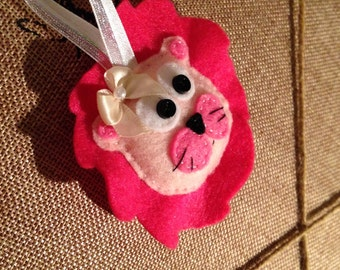 Pink Felt Lion Ornament