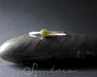 Peridot 3mm Cabochon Stacking  Ring