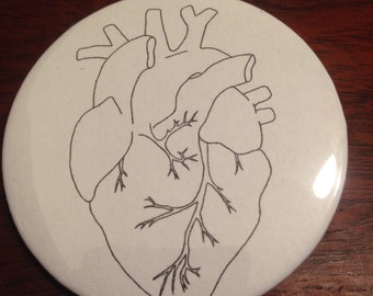 Anatomical Heart Pinback Button
