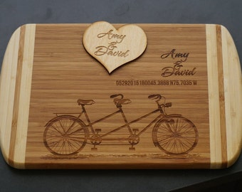 Personalized cutting board > bicycle gift > engraved bicycle cutting board > Customized cutting board for wedding gift > anniversary bicycle