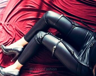 Garter Style Leg harness and Belt | Leather adjustable garter| Waist to Legs harness | full leg garter harness
