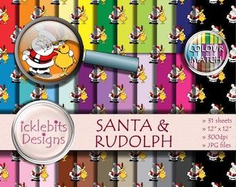 "Christmas Digital Paper Pack ~ ""SANTA & RUDOLPH"" ~ 31 Sheets ~  Festive digital paper ~  CU Scrapbooking Paper ~ Rainbow Paper ~ Design #109"