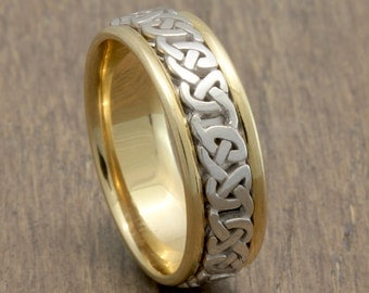 7mm 14K/18K Two Tone Gold Celtic Center, Comfort Fit Wedding Band, Gold Rings, Infinity Knot Rings,FREE ENGRAVING
