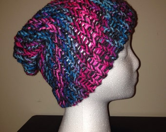 Loom Knitted Slouch Hat - Blue, Pink, & Dark Gray
