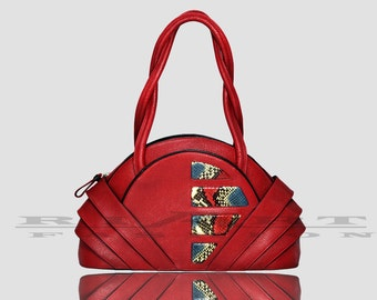 Shoulder leather bag , red leather bag , luxury bag , top handle bag , limited edition , geometric bag , unique fashion , special accasion