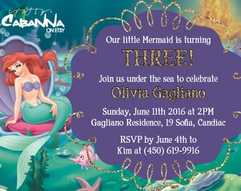 The Little Mermaid Birthday Invite