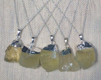 "Gorgeous Natural Rough Citrine Pendant Necklace - Sterling Silver 18"" Chain - Natural Stone Necklace - rough Stone Necklace"