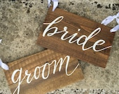 Rustic 'Bride' & 'Groom' Chairback Signs -A Pair - Wooden Pallet Signs - Hand Painted - Wedding Signs