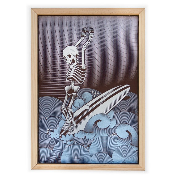 Surf Print - Skeleton Surfing Hand Screen Printed on Canvas and Framed - Artwork Skeleton Print