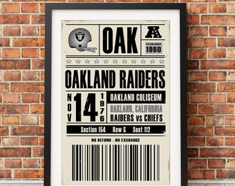 Oakland Raiders Retro Ticket Print