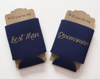 Groomsman Proposal Can Cooler CURSIVE | Will you be my Best Man Groosman | Bridal Party